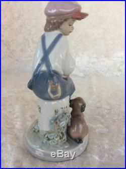 Lovely Lladro Figurine, My Best Friend, Boy with Knapsack and Dog, #5401, C240