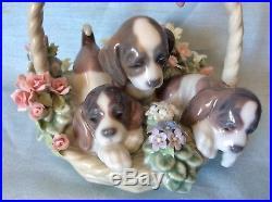 MINT IN BOX Retired LladroA Litter Of Love #1441 Puppy Dogs in a Flower Basket