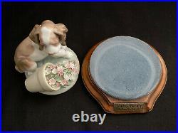 Mint! Lladro 7672 It Wasn't Me Dog Puppy Flowerpot Figurine Stand - Retired