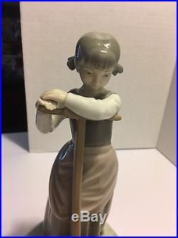 Mint Rare Lladro Girl Pulling Boy Dog In Wagon #1245 Figurine Spain Glazed