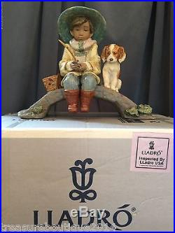Mint in Box Rare Lladro Old Fishing Hole(2237) Boy Fishing WithDog