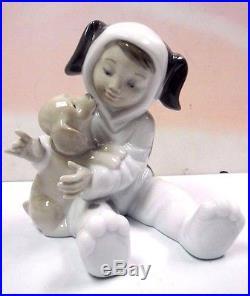 My Playful Puppy Boy Holding Dog Figurine 2011 By Lladro Porcelain #8598