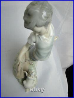 NAO Boy Fighting The Dog Retired Figurine, porcelian # 0161 MINT Lladro Rare