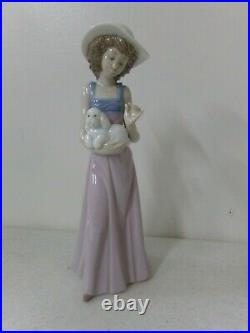 NAO By Lladro Pampered Poodle Figurine #1157 Excellent Condition Girl with Dog