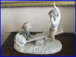 NAO By Lladro Spain Porcelain Figurine 4867 Seesaw Girl Boy Dog