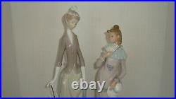 NAO LLADRO PORCELAIN FIGURE GIRL WITH FAN HAT HTF & Woman Dog Umbrella Lot of 2