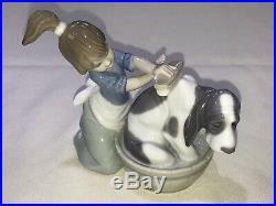 NEW IN BOX Lladro 5455 Bashful Bather Girl Washing Dog Porcelain Figurine 5 Tal