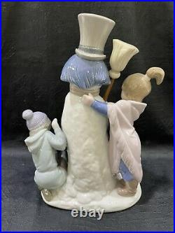 NEW IN BOX Lladro 5713 The Snowman with Boy Girl & Dog Porcelain Figurine