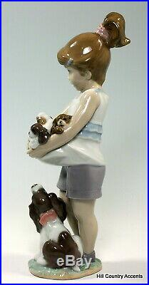 NEW LLADRO CAN I KEEP THEM #8690 LITTLE GIRL with MOTHER DOG & PUPPIES NIB