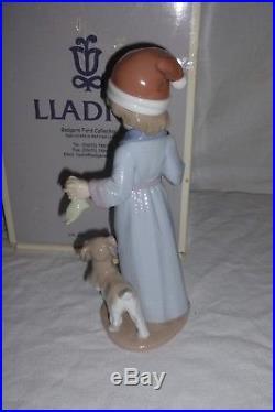 Nao Lladro Dear Santa 6166 Boy with Dog & Wish List Figurine Original Box