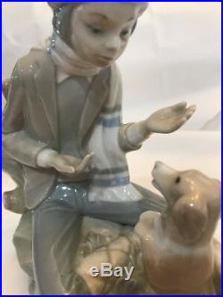 Nao Lladro LESSON FOR THE DOG Boy Figure Training Dog Spain Porcelain Figurine