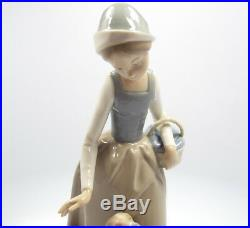 Nao by Lladro Figurine Girl Holding Basket with Dog, 11