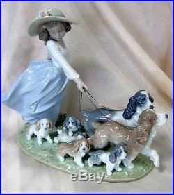New Lladro #6784 Puppy Parade Bnib Girl Dog Flower Large Save $200 Free Shipping