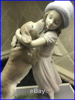 New Lladro A Warm Welcome Figurine #6903 Brand Nib Girl Hugging Dog