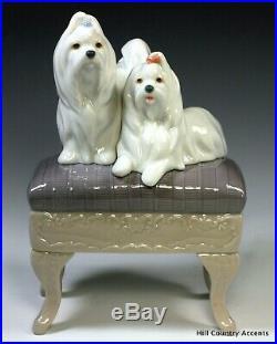 New Lladro Looking Pretty #6688 2 Maltese Dogs On Stool Boxed $520 V Nib