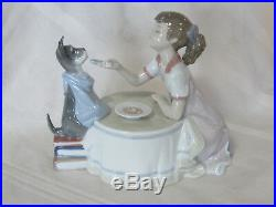 New Lladro Tea Time Girl Figurine #9197 Brand New In Box Dog Tea Party Save$f/sh