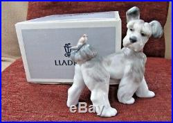 New Lladro Unexpected Visit #6829 Dog With Bird On His Tail Nib
