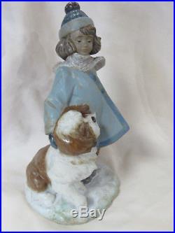 New Lladro Winter Wind Brand New In Box #2517 Gres Girl Dog Fun Bargain F/sh