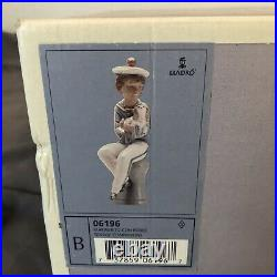 New in Box Lladro #6196 Seaside Companions Sailor With Dog In Box With Certificate