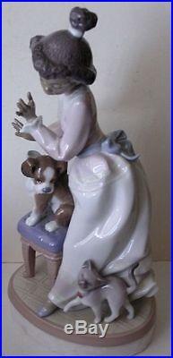 Original 1993 Lladro My Turn #6026 Figurine Girl with Dog & Cat 9 1/2 MINT
