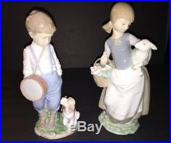 Pair of Lladro Figurines Duet 6846 Boy Drum Puppy Dog and Girl with Lamb 4835