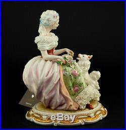 Porcelain Principe Figurine LADY AND DOG Handmade Italy Capodimonte NEW