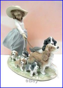 Puppy Parade Girl Walking Dogs And Puppies Figurine By Lladro 6784