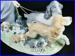 Puppy Parade Girl with Dogs Figurine 9.5 x 12.20 x 5.5 New no box