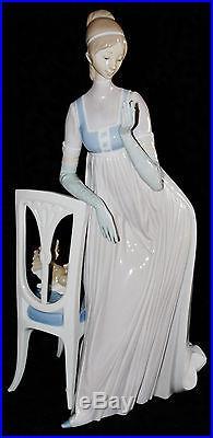 Rare Large Lladro Figurine Lady Empire Dama Imperio Spain #4719 Lady Dog 18