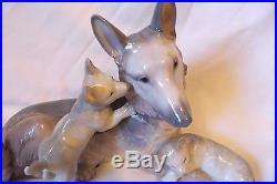 Rare Large Lladro German Shepherd Dog With Puppies #6454 Statue 13