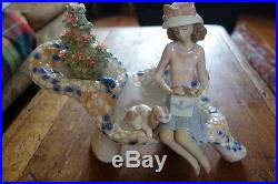 Rare Lladro Figurine Parque Guell Retired Girl On Bench With Dog #6661