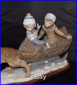 RARE Large LLADRO Figurine Sleigh Ride Dog Pulling Sleigh # 5037, Ret 1996