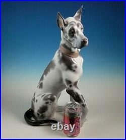 RARE Large Lladro Seated Great Dane Dog Figurine 6558 Alvarez Retired 1998-2000
