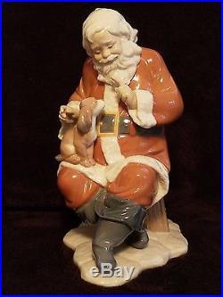 RARE Lladro #6890 Santa's Little Secret Christmas Santa's Magical Workshop Dog