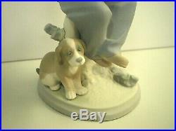 RARE Vtg LLADRO 5401 My Best Friend RETIRED Boy with Dog & Knapsack MATTE FINISH