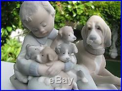 REDUCED! LLADRO DOG w 4 PUPPIES/CHILD FIGURINE #5456, Bisque Finish, 5 x 5.5