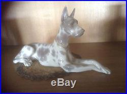 Retired Large Lladro Harlequin Great Dane Figurine Pristine Beauty Majestic Dog