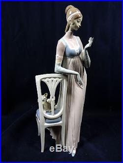 Retired Lladro 4719 Lady Empire Dog Chair Glazed Porcelain 18.75 Tall Figurine