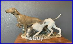 RETIRED LLADRO Attentive Dogs Hunting Porcelain Spain #4957 17.5 L x 10.5 H
