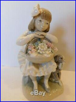 RETIRED Lladro #1088 GIRL WITH FLOWERS & DOG FIGURINE