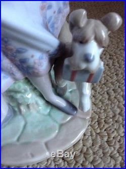 Retired Ready To Learn Black Legacy Lladro Porcelain 6003 Glazed Mint Boy Dog