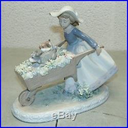 Rare! LLADRO Puppy Dog GIRL with FLOWER CART (Gloss Finish Figurine)