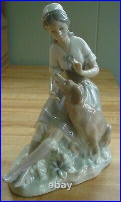 Rare LLadro Nao Lady with Dog Figurine