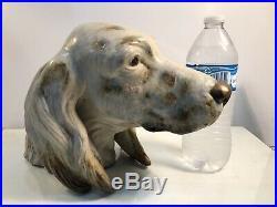 Rare Large Lladro #12045 Setters Head Dog Gres Finish Juan Huerta 11 x 8