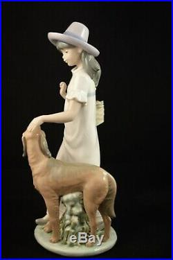 Rare Large Lladro Nao Figurine Lady Girl With Dog Mint