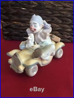 Rare Lladro Clown Figurine, Trip to the Circus, #8136, porcelain car with dog