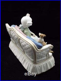 Rare Lladro Figurine #5229 Storytime, Boy Girl & Dog on Couch, with box