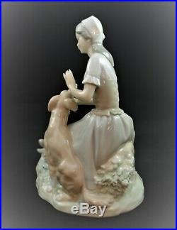 Rare Lladro Nao Figurine Shepherdess Lady With Dog #112
