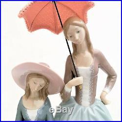 Rare Lladro Porcelain 4840'Harmony Group' Ladies with Parasol & Dog Figurine