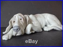 Rare Retired Lladro Large 10 Long Reclining Hound Dog Figurine # 1067